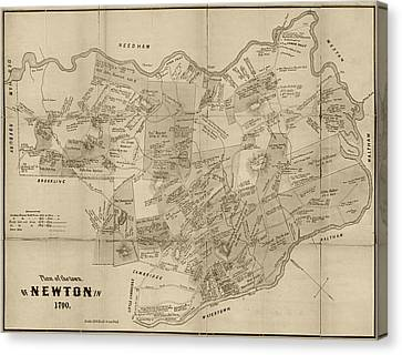Newton Ma City Plans From 1700 Sepia Canvas Print