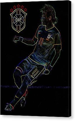 Neymar Neon II Canvas Print by Lee Dos Santos