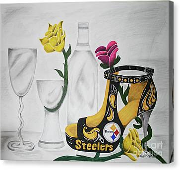 Steelers Canvas Print - Nfl Steelers Stiletto by Audrey Lindsey