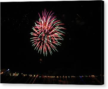 Nh Fireworks On The Beach Canvas Print by Laura Catherine