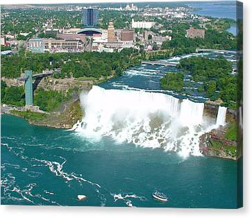 Canvas Print featuring the photograph Niagara American And Bridal Veil Falls  by Charles Kraus
