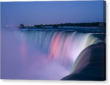 Flow Canvas Print - Niagara Falls At Dusk by Adam Romanowicz