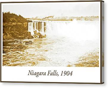Canvas Print featuring the photograph Niagara Falls Ferry Boat 1904 Vintage Photograph by A Gurmankin