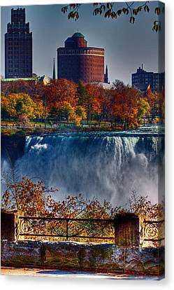 Canvas Print featuring the photograph Niagara Falls From Ontario by Don Nieman