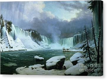 Icy Canvas Print - Niagara Falls by Hippolyte Victor Valentin Sebron