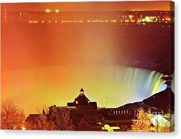 Canvas Print featuring the photograph Niagara Falls Illumination Light Show by Charline Xia