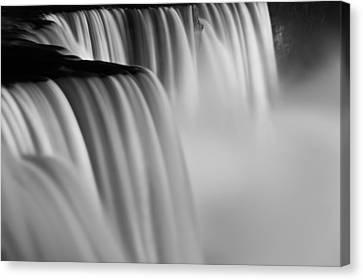 Abstract Water Fall Canvas Print - Niagara Falls Illuminations Number 2 B  W by Steve Gadomski