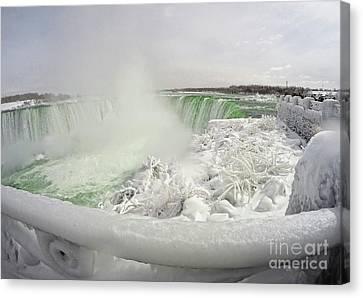 Niagara Falls Winter Crystal Ice Formation Canvas Print by Charline Xia