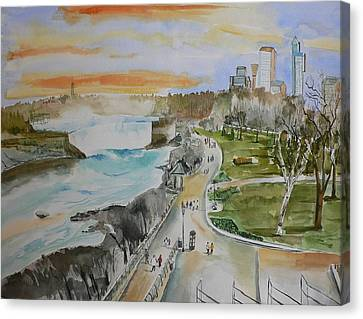 Canvas Print featuring the painting Niagara In Spring by Geeta Biswas