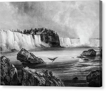Niagra Falls Circa 1832 Canvas Print by Douglas Barnett