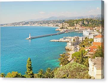 Nice Coastline And Harbour, France Canvas Print by John Harper