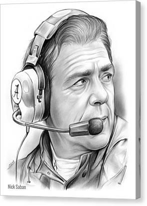 Coach Canvas Print - Nick Saban by Greg Joens