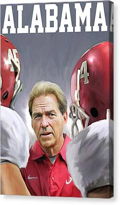 Nick Saban Canvas Print by Mark Spears