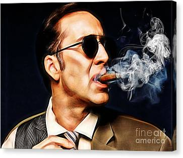 Actors Canvas Print - Nicolas Cage Collection by Marvin Blaine
