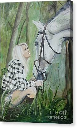 Forelock Canvas Print - Nicole And Cellie by Isabella F Abbie Shores
