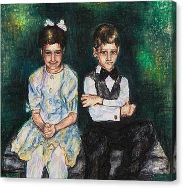 Niece And Nephew At The Wedding Canvas Print by Laurie Tietjen