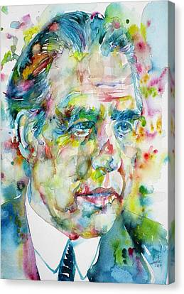 Canvas Print featuring the painting Niels Bohr - Watercolor Portrait by Fabrizio Cassetta