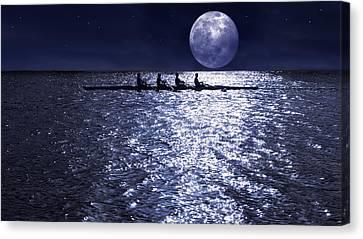 Sea Moon Full Moon Canvas Print - Night Crew by Laura Fasulo