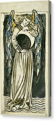 Night Angel Holding A Waning Moon Canvas Print by William Morris