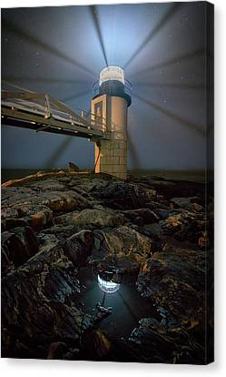 New England Lighthouse Canvas Print - Night At Marshall Point by Rick Berk