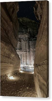 Night At Petra Canvas Print by Stephen Stookey