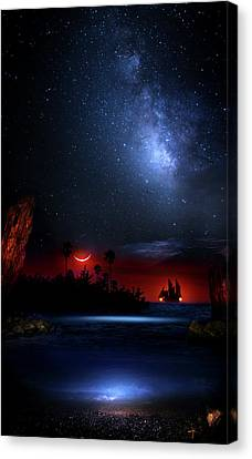 Night At Pirate's Lagoon Canvas Print by Mark Andrew Thomas
