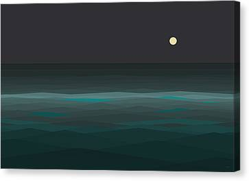 Abstract Seascape Canvas Print - Night At Sea by Val Arie