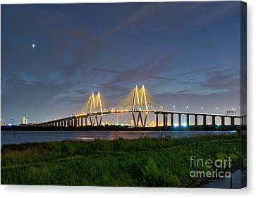 Night At The Fred Hartman Bridge Canvas Print by Tod and Cynthia Grubbs