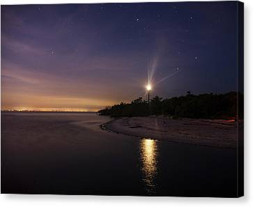 Chrystal Canvas Print - Night At The Sanibel Lighthouse by Chrystal Mimbs