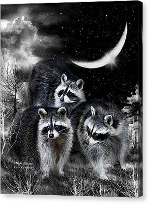 Night Bandits Canvas Print by Carol Cavalaris