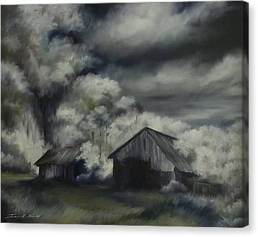 Night Barn Canvas Print by James Christopher Hill