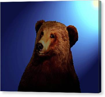 Canvas Print featuring the digital art Night Bear by Timothy Bulone