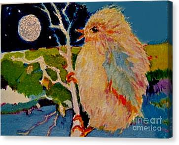 Canvas Print featuring the painting Night Bird by Diane Ursin