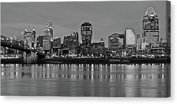 Night Black And White Of Cinci 2016 Canvas Print