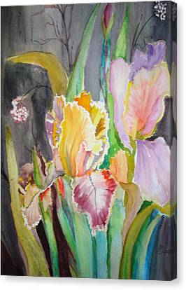 Canvas Print featuring the painting Night Blooms by AnnE Dentler