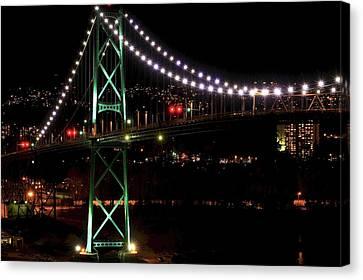 Vancouver At Night Canvas Print - Night Bridge by Anna Lyndi