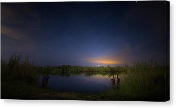 Night Brush Fire In The Everglades Canvas Print by Mark Andrew Thomas