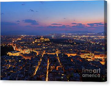 Night Cityscape Of Athens  Canvas Print by Anastasy Yarmolovich