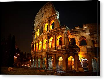 Night Colosseum Canvas Print by Kevin Flynn