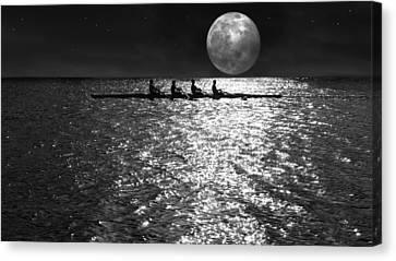 Sea Moon Full Moon Canvas Print - Night Crew Bw by Laura Fasulo