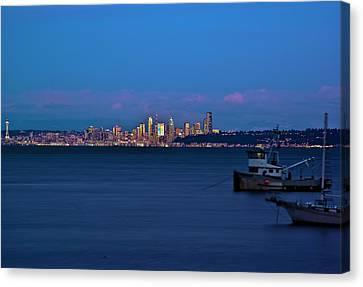 Night Descending On Seattle Canvas Print by Dale Stillman