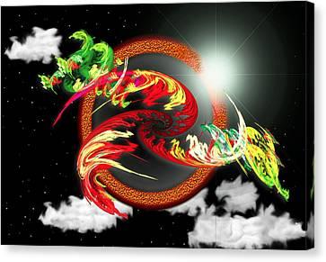 Canvas Print featuring the digital art Night Dragon by Mario Carini