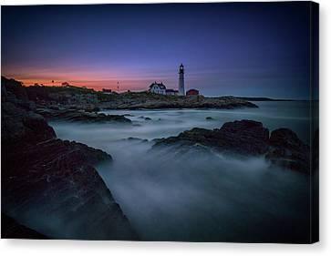 Rocky Maine Coast Canvas Print - Night Falls On Portland Head by Rick Berk
