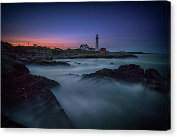 Canvas Print featuring the photograph Night Falls On Portland Head by Rick Berk