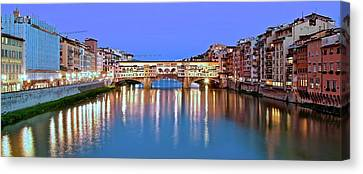 Night Falls On The Ponte Vecchio Canvas Print