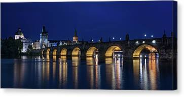 Vltava Canvas Print - Night Falls Over Charles Bridge Prague Czech Republic by Steve Gadomski
