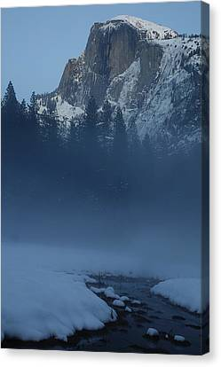 Canvas Print featuring the photograph Night Falls Upon Half Dome At Yosemite National Park by Jetson Nguyen