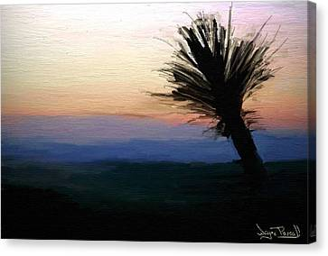 Canvas Print featuring the painting Night Falls by Wayne Pascall