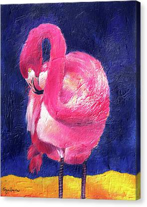 Night Flamingo Canvas Print by Noga Ami-rav