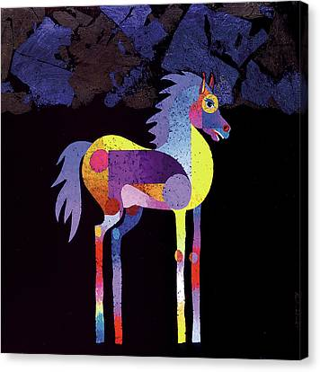 Canvas Print featuring the painting Night Foal by Bob Coonts